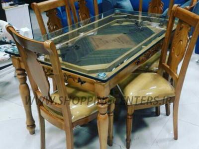 میز ناهار خوری میز پایه خراطی شیشه 20 میل صندلی پرنیان